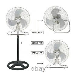 3 In 1 18 3-speed Industrial Heavy Duty Pedestal Oscillating Metal Stand Fan