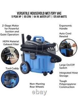 Aspiradora Industrial Para Mojado Y Seco De 4 Galones Motor De Fuerza 5 Caballos