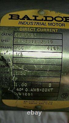 Baldor DC Electric Motor CDP3420 1750 RPM 1/3 HP Industrial Motor Direct Current