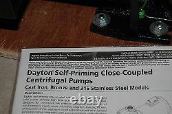 Dayton 2zxr4 Centrifugal Bronze Pump 115/230 1.5 Npt Port New