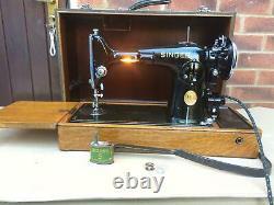 Electric Singer 201K-2 Potted Motor Vintage Antique Sewing Machine
