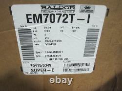 New Baldor EM7072T-I Industrial Electric Motor 5HP 2900RPM 230/460V Ph 3 FR 184T