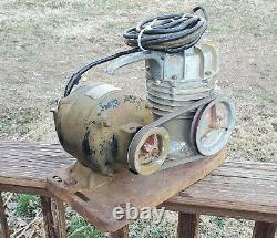 SPEEDY Air Compressor WORKS RUNS Rat Rod Industrial Vtg GEN Electric Motor 1/4