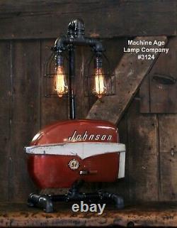 Steampunk Industrial Machine Age Lamp Johnson Boat Motor Nautical Marine