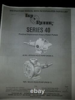 Tri-rotor Pump Model 40ax 3 HP Motor & 13.71 Speed Reducer