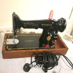 Vintage Antique Singer 201K-2 Electric Potted Motor Sewing Machine FOR LEATHER