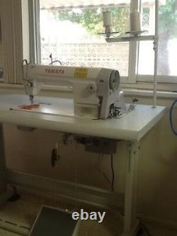 Yamata FY8500 Sewing Machine with table and Servo Motor. Single needle lockstitch