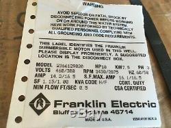 2366129020 Franklin Electric 3 Phase 460/380 Volt 10hp 6 Moteur Submersible Nouveau