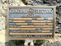 Antique Industriel General Electric Induction Motor Cast Plaque/signal En Laiton