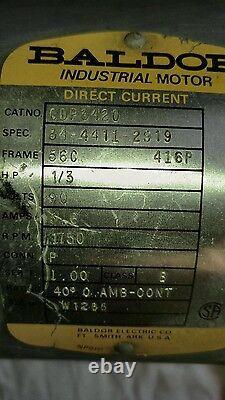 Baldor DC Moteur Électrique Cdp3420 1750 RPM 1/3 HP Industrial Moteur Courant