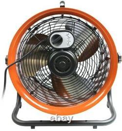 Commercial Electric Industrial Fan 16 In. 3-speed Motor Drum Indoor Steel Orange