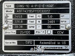 Grundfos Crn5-10 A-p-g-e-hqqe Pompe Centrifuge Verticale En Acier Inoxydable 5.0hp