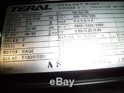 Okuma F0130-06-001 Teral Electric Vka566ah Pompe De Refroidissement 3 Moteur À Induction Triphasé