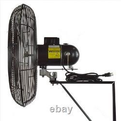 Oscillating Wall Mount Fan 24 In. 2 Speed Heavy Duty Motor Industrial Black New
