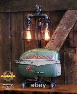 Steampunk Industrial Machine Age Lampe Johnson Boat Motor Nautical Marine