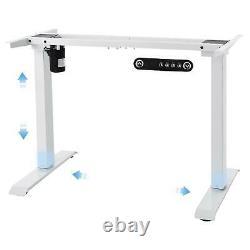 Table De Bureau Roulante Électrique Monomoteur Réglable En Hauteur Stand Up White