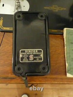 Vintage 201k Semi Industrial Singer Treadle Machine À Coudre Avec Moteur Électrique