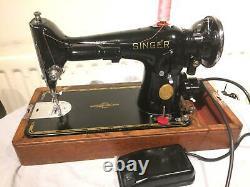 Vintage Antique Singer 201k-2 Electric Potted Motor Machine À Coudre Pour Cuir