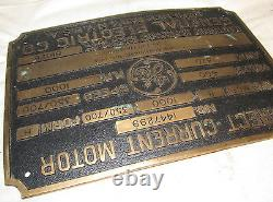Vintage Ge General Electric Lourd Laiton Plaque Industrielle Moteur / Signe / Plaque J918