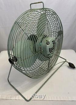 Vintage Seabreeze Électric Floor Fan 20 Turquoise MID Century Industrial Nice
